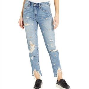 Blanc NYC Rivington High-Rise Jeans with Grommets